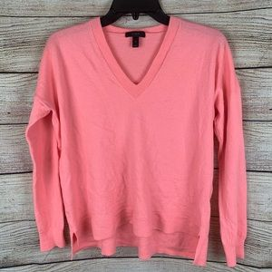 J. Crew Bright Pink V-Neck Sweater Size M